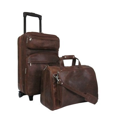 AmeriLeather Leather Two Piece Set Traveler (Waxy Brown) ()