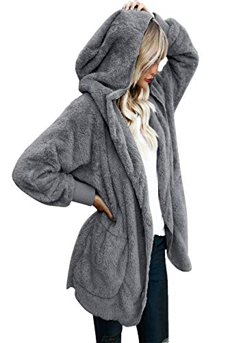 Yanekop Womens Winter Open Front Loose Hooded Fleece Sherpa Jacket Cardigan Coat(Dark Grey,3XL) ()