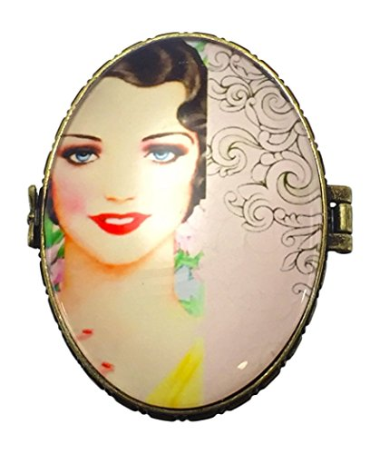 Value Arts Fashionable Flapper Oval Trinket Box, Ceramic and Glass, 2.75 Inches Wide