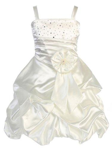Wonder Girl Maddie Big Girls' Satin Short Pick Up Dress with Rhinestones 6 Ivory