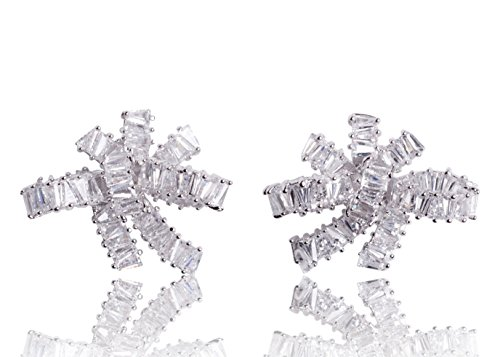 MISASHA Sparkling Cubic Zirconia Luxury Bowknot Celebrity Designer Real White Gold Plated Earrings For Women