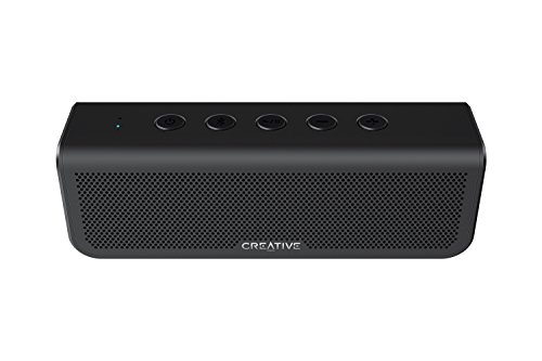 Creative Metallix Plus Portable, Dual Drivers Bluetooth 4.2 Speaker with 24 Hours of Battery Life, Enhanced Bass, IPX5 Water-Resistant, Stereo Pairing and Built-in Speakerphone (Black)