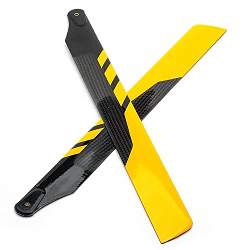 Makerfire 1 Pair of TNS 325mm Carbon Fiber Main Rotor Blades for Align TREX 450 PRO (Yellow with - Carbon Blade Rotor 325