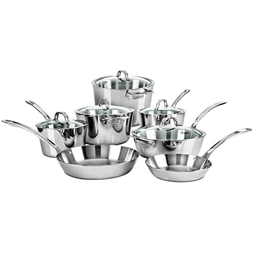 Viking Contemporary Tri-Ply Stainless Steel Cookware Set, 12-piece