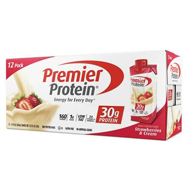 Premier Protein High Protein Shake, Strawberry Cream (11 fl. oz., 12 pack) (pack of 6) by Premier Protein