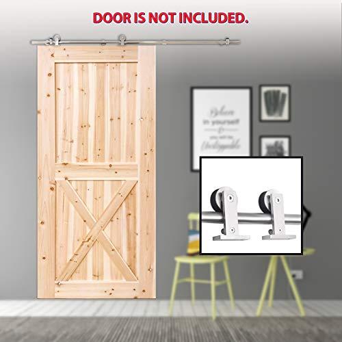 TCBunny 6.7ft Modern Stainless Steel Interior Sliding Barn Wooden Door Hardware Track Set, Stainless Steel