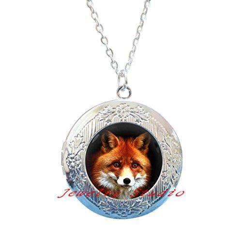 Red fox Locket Necklace fox Locket Pendant wildlife Locket Necklace jewelry,fox jewellery fox charm Locket Necklace fashion jewellery silver charm Locket Necklace gift women-HZ00241