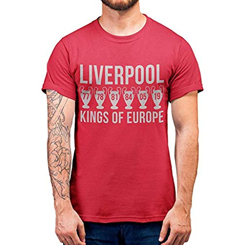 Fiaya men Women Couple Blouse Liverpool Letter Print O-Neck Short Sleeve T-Shirt Tops Cheer for The Champions League (L, Red)