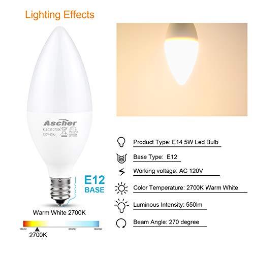 Ascher Classic E12 LED Candelabra Light Bulbs, Equivalent 60W, 550 Lumens, Warm White 2700K, Chandelier Bulb, Non-dimmable, Candelabra Base, Pack of 10