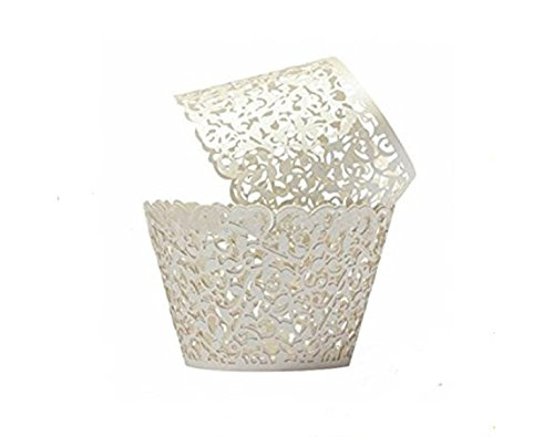 Aijida Cupcake Wrappers 60 Filigree Artistic Bake Cake Paper Cups Little Vine Lace Laser Cut Liner Baking Cup Muffin Case Trays for Wedding Party Birthday Decoration (White)