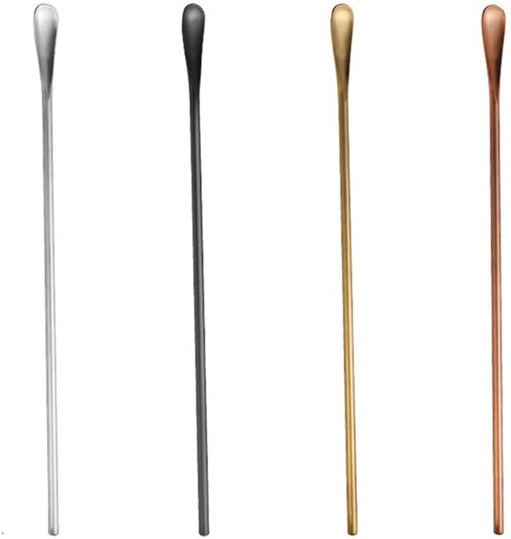 Long Timesuper Stainless Steel Cocktail Spoon Coffee Beverage Stirrers Stick Cocktail Drink Stick,Black