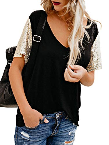 Kaei&Shi Patchwork Sequin Top,Clubwear Loose T Shirt,Party Sparkly T-Shirts for Women,Holiday Sequence Tee 1X 1Xl Black X-Large