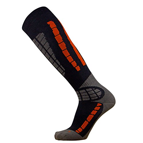 Pure Athlete Ski Socks - Best Lightweight Warm Skiing Socks (Orange/Black, L/XL)