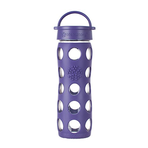Lifefactory 16-Ounce BPA-Free Glass Water Bottle with Leakproof Classic Cap and Silicone Sleeve, Royal Purple Royal Bottle