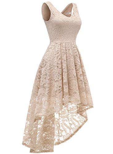 d'honneur Demoiselle MuaDress Dentelle High Col Asymtrique Manches Champagne V Robe Low sans Fille Jupe Femme en x6aqxwr