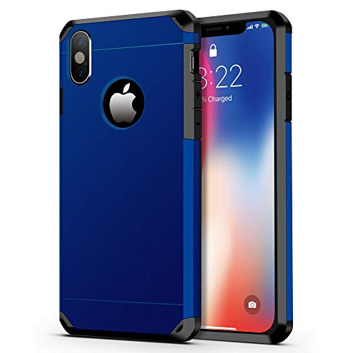iPhone X Case/iPhone Xs Case, ImpactStrong Heavy Duty Dual Layer Extreme Protection Cover Heavy Duty Case for iPhone X/Xs 5.8 inch (2018) - Navy Blue