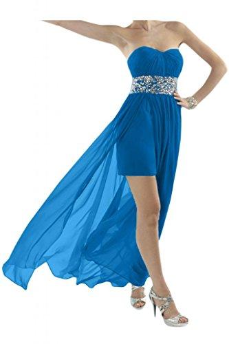 Toscana novia Chic en forma de corazón de cristal Hi-Lo por la noche vestido gasa largo vestidos de fiesta en vestidos de cóctel azul marino