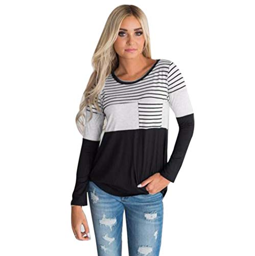 Clearance Women Shirt LuluZanm Casual Patchwork O Neck Striped T-Shirt Long Sleeve Tops Blouse