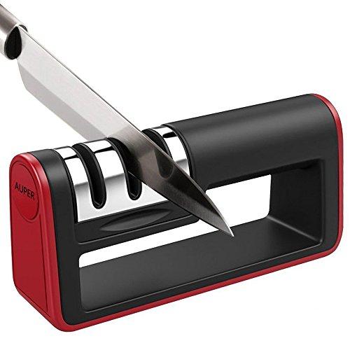 Knife Sharpener, Auper 3-Stage Knife Sharpening System, Quickly Sharpen Dull Knife, Non-slip Base Kitchen Knife Sharpener, Safe and Easy to Use