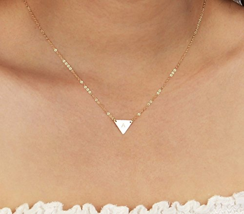 Customized Small Silver Triangle Necklace, Dainty Gold Triangle Letter Pendant Necklace, Initial Geometric Jewelry, Rose Gold Monogram Triangle Layered (Tiny Tag Necklace)