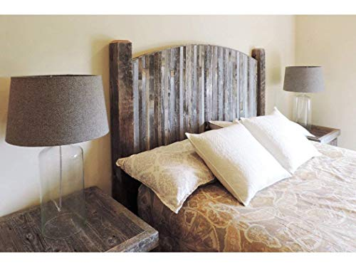 Farmhouse Style Arched Queen Size Bed Barnwood Headboard w/Narrow Weathered Reclaimed Wood Slats, Rustic Country Bedroom Furniture Sets.