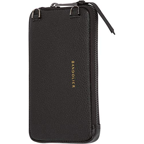 Bandolier Expanded Zip Pouch - Black Pebble Leather with Pewter Detail - Compatible with All Bandolier Phone Cases