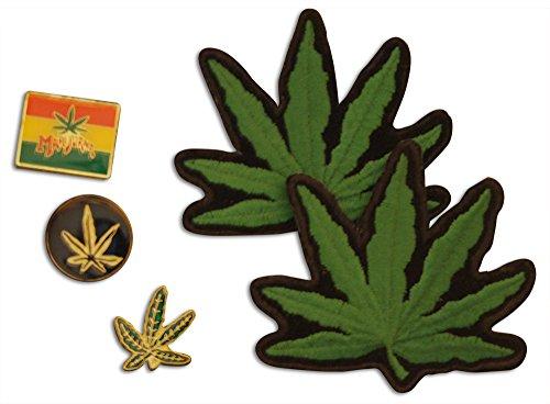 Novel Merk 5-Piece Pro Marjiuana Weed Rights Pin & Patch - Leaf Marjiuana