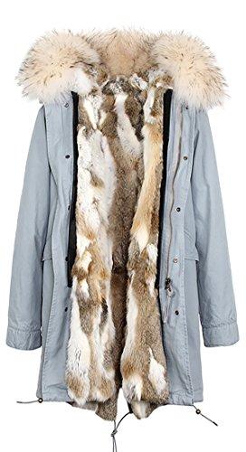 extraíble invierno conejo con abrigo de Cuello pelaje Forro mapache de de amp; piel extraíble capucha mujer ROMZA Multicolor Gris Blanco de S wvqBOO