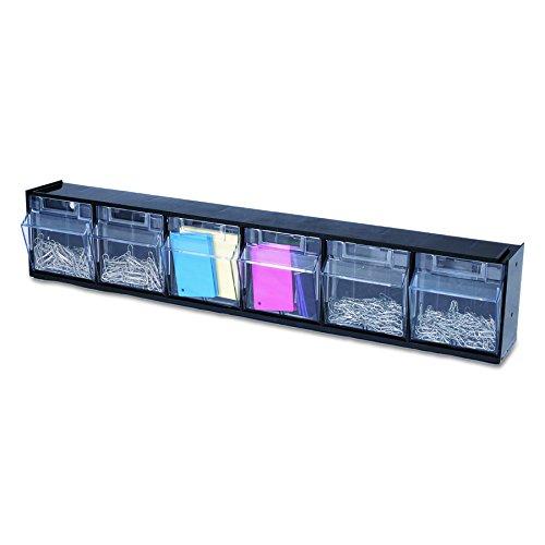 Deflecto 20604OPU Six-bin horizontal tilt bin storage system, 23-5/8w x 3-5/8d x 4-1/2h, black (Hardware Bin)
