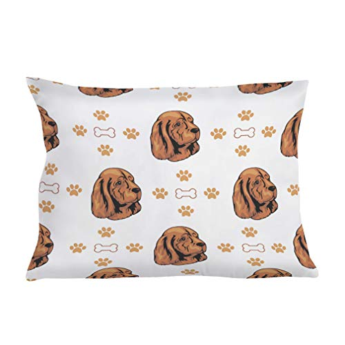 Style In Print Personalized Pillow Case Sussex Spaniel Dog Bones Paws Polyester Pillow Cover 20INx28IN Design Only Set of - Two Sussex Bath Light