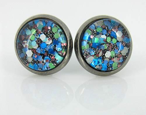 Hematite-tone Blue Green White Glitter Glass Stud Earrings Hand-painted 10mm