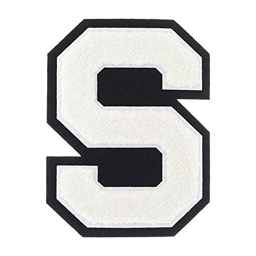 S - White on Black - 4 1/2 Inch Heat Seal/Sew On Chenille Varsity -