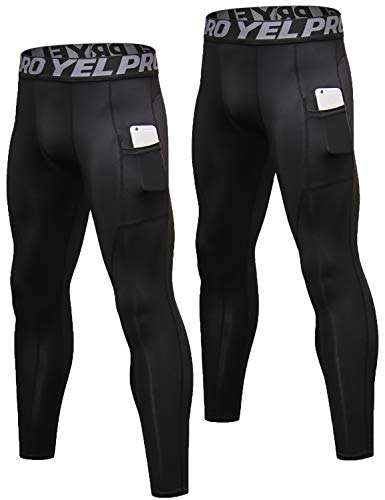 (Lavento Men's Compression Pants Baselayer Cool Dry Pocket Running Ankle Leggings Active Tights (2 Pack-3911 Black,Medium))