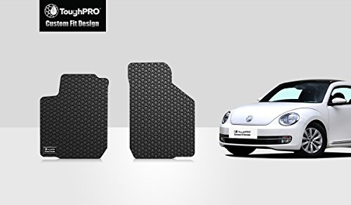 ToughPRO Floor Mats (Front Row Set) Compatible with Volkswagen Beetle -All Weather-Heavy Duty-(Made in USA)-Black Rubber - 1999, 2000, 2001, 2002, 2003, 2004, 2005, 2006, 2007, 2008, 2009, 2010, 2011