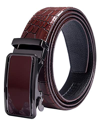 Hi-Tie Mens Genuine Leather Ratchet Dress Red Belt with Automatic Buckle Enclosed Gift Box