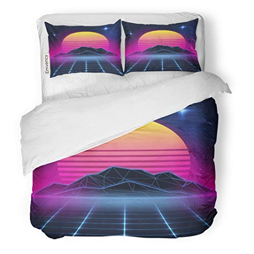Semtomn Decor Duvet Cover Set Full/Queen Size Neon on New Retro Wave Party Miami 90S Beach 3 Piece Brushed Microfiber Fabric Print Bedding Set Cover -