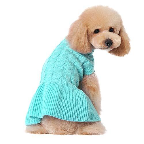 Didog Fashion Sweety Pretty Puppy Two Leg Sweater Classic Design Dress (S, Blue)