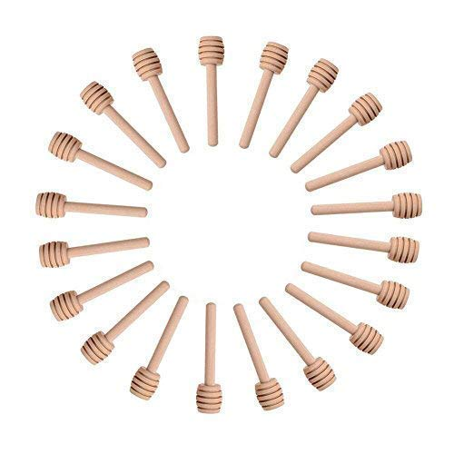 Cheap Sohapy 24 Pack 3.1 Mini Wooden Honey Dipper Sticks Spoon for Server for Honey Jar Dispense Dr...