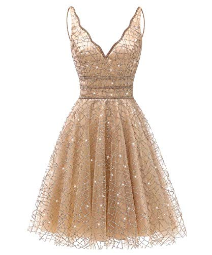 Women's Tulle Prom Gown Short Homecoming Dresses Crystal Sparkle Party Dresses(Gold,14)