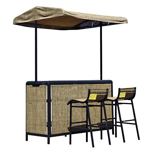 (Outsunny 3 Piece Outdoor Mesh Cloth Canopy Bar Set - Table & Two)