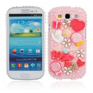 Plastic and Diamond Case with Pearl Lollipop Pattern for Samsung I9300 Red