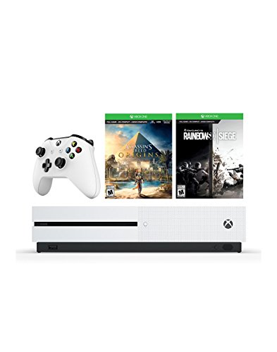 Microsoft Xbox One S 1 TB 4K HDR Console Assassin's Creed Origins and Rainbow Six Siege: Choose Your Must-Play Games and More