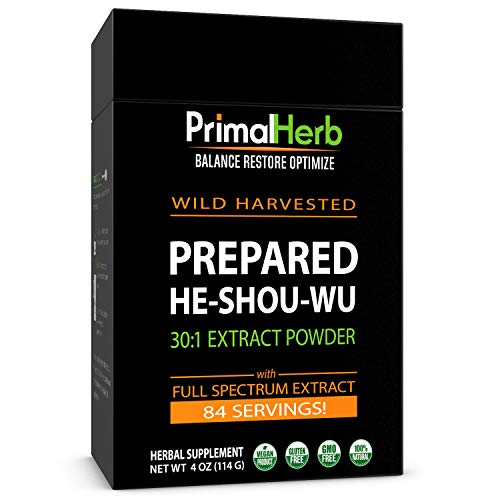 He Shou Wu Fo ti Root Extract Powder - by Primal Herb | Longevity Tea - Supports Hair Growth & Glowing Skin | Organic Potent 30:1-84 Servings - Aged Roots | Includes Bamboo Spoon by Primal Herb (Image #7)