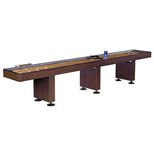 Challenger Shuffleboard Table w Walnut Finish, Hardwood Playfield, Storage Cabinets
