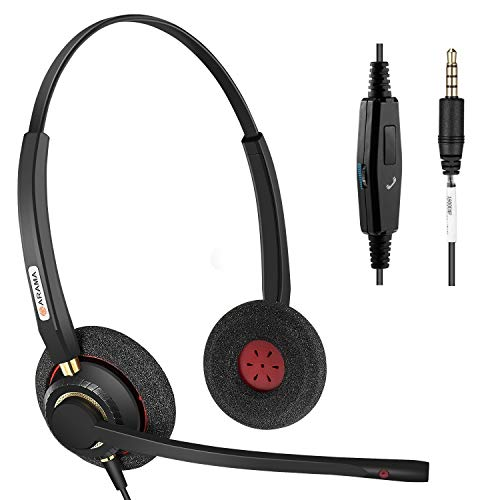 Cell Phone Headset with Noise Canceling Mic, High Voice Clarity Wired 3.5mm Headset for iPhone Samsung LG HTC BlackBerry Mobile Phone iPad Tablet Lightweight Secure-Fit Headband Ultra Comfort(A802MP)