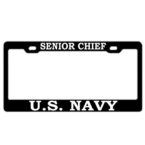 US Navy Senior Chief Black Aluminum Metal License Plate Frame License Tag Holder for US and Canada Standard