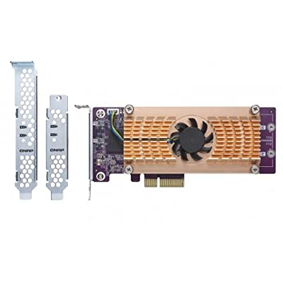QNAP Dual M.2 PCIe SSD Expansion Card; Supports up to Two M.2 2280/22110 formfactor M.2 PCIe (Gen3 x4) SSDs; PCIe Gen3 x4 Host Interface; Low-Profile Bracket pre-Loaded