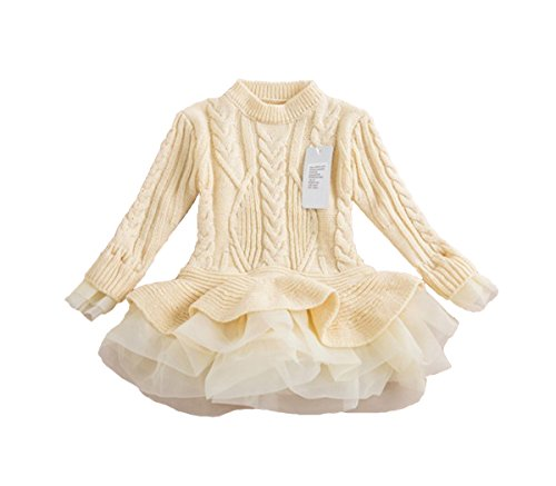 belababy Girls Sweater Knitted Organza Stitching Pleated Tutu Shrugs Pullover, (Knitted Shrug)