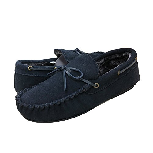 Real Fancy Men's Suede Moccasin Slipper Leather Driving Shoes Indoor Outdoor Penny Loafers With Soft Sole (10 D(M) US, Navy)