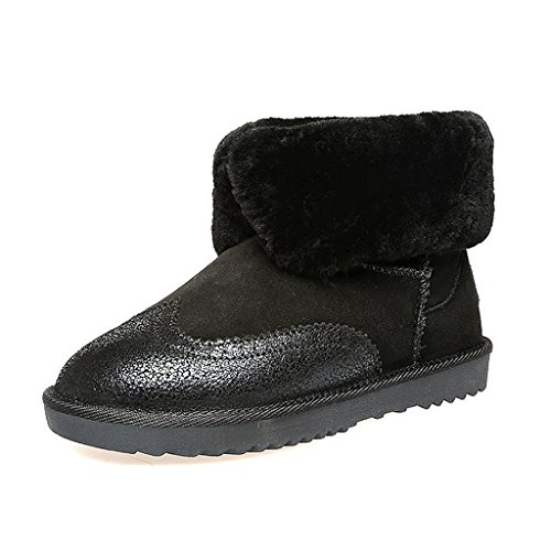 Women snow boots winter short tube warm leather thicking flat boots ( Color : Black , Size : US:6.5\UK:5.5\EUR:38 )